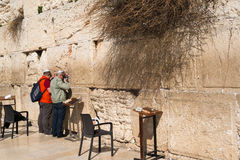 Believers by the Western Wall, Wailing Wall or Kotel Royalty Free Stock Photo