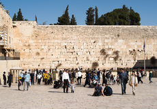Believers by the Western Wall, Wailing Wall or Kotel Stock Photography