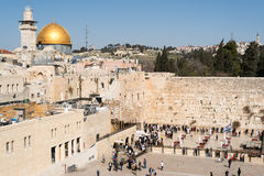Believers by the Western Wall, Wailing Wall or Kotel Royalty Free Stock Photos