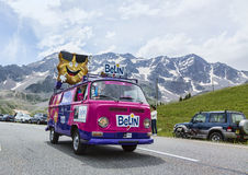 Belin Vehicle - Tour de France 2014. Col du Lautaret, France - July 19, 2014: Belin Vehicle during the passing of the advertising caravan on mountain pass Royalty Free Stock Photography