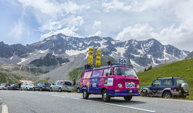 Belin Vehicle - Tour de France 2014. Col du Lautaret, France - July 19, 2014: Belin Vehicle during the passing of the advertising caravan on mountain pass Stock Photo