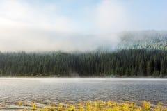 Belis-Seeufermorgen, als der Nebel steigt Lizenzfreies Stockfoto