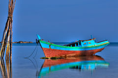 belitung小船捕鱼海岛 免版税图库摄影