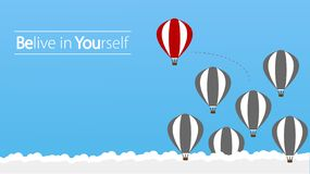 Belive in Yourself and Dare to be Yourself. Take Risk in Life and Move for Your Goals. The Hot Air Balloon a Concept of Determinat stock illustration