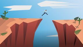 Belive in Yourself and Dare to be Yourself. Take Risk in Life and Move for Your Goals. The Jumping Man is a Concept of vector illustration