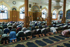 Belivers praying at the mosque of Bengali Sunni Jamae at Yangon Royalty Free Stock Image