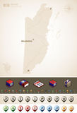 Belize. And North America Maps plus cartography symbols set (part of the World Maps Set Royalty Free Stock Images