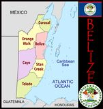 Belize Administrative divisions Stock Image