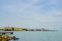 Belize city. Beautiful view of the coast in belize city blue sky ocean Stock Photos