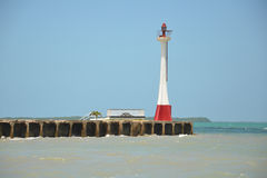 Belize City Light house. The Baron City Lighthouse in Belize. This view is from the water and shows the damage around the area Stock Image