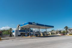BELIZE - NOVEMBER 17, 2017: Belize City And Uno Gas Station Royalty Free Stock Photography