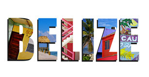 Belize collage on white Royalty Free Stock Image