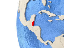 Belize on 3D globe. Map of Belize on globe with watery blue oceans and landmass with visible country borders. 3D illustration Royalty Free Stock Image