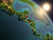 Belize do espaço durante o nascer do sol Imagens de Stock Royalty Free