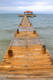 Belize Dock. Looking Down the Dock on a Summer Day in Belize stock image