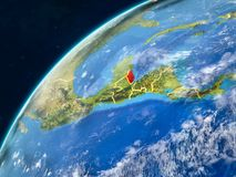 Belize on Earth with borders. Belize on realistic model of planet Earth with country borders and very detailed planet surface and clouds. 3D illustration stock photos