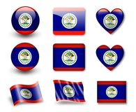 The Belize flag. Set of icons and flags. glossy and matte on a white background Royalty Free Stock Photo