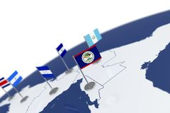 Belize flag. Country flag with chrome flagpole on the world map with neighbors countries borders. 3d illustration rendering flag Royalty Free Stock Image