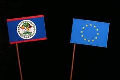 Belize flag with European Union EU flag isolated on black. Background Royalty Free Stock Photo