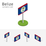 Belize flag,  set of 3D isometric icons. Belize flag,  set of isometric flat icons, 3D style, different views. 100%  design elements for banner, website Royalty Free Stock Photo