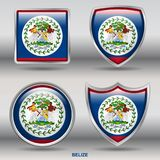 Belize Flag in 4 shapes collection with clipping path royalty free stock photo