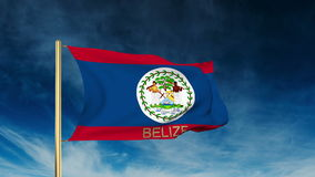 Belize flag slider style with title. Waving in the stock footage