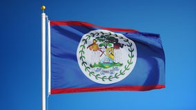 Belize flag in slow motion seamlessly looped with alpha stock footage
