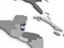 Belize on globe with flag Royalty Free Stock Photography