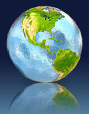 Belize on globe with reflection. Illustration with detailed planet surface. Elements of this image furnished by NASA Royalty Free Stock Photo