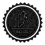Belize Map Label with Retro Vintage Styled Design. Hipster Grungy Belize Map Insignia Vector Illustration. Country round sticker Royalty Free Stock Photos