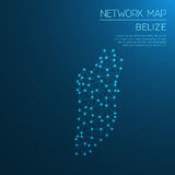 Belize network map. Abstract polygonal map design. Internet connections vector illustration royalty free illustration