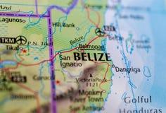 Belize no mapa Imagem de Stock