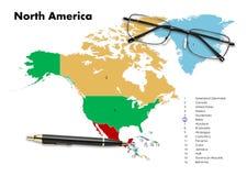 Belize op de kaart van Noord-Amerika Royalty-vrije Stock Fotografie
