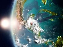 Belize pendant le coucher du soleil sur terre Photo stock