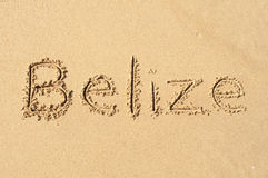 Belize. A picture of the word Belize drawn in the sand Stock Photography