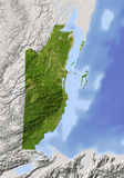 Belize, shaded relief map Royalty Free Stock Photo