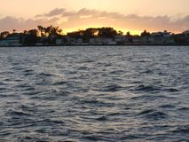 Belize stadssolnedgång Arkivfoto