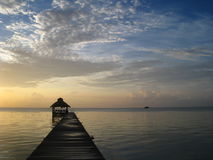 Belize Sunrise. Sunrise over the ocean in Ambergris Caye, Belize Royalty Free Stock Image