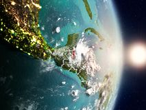 Belize during sunrise. Highlighted in red on planet Earth with visible country borders. 3D illustration. Elements of this image furnished by NASA Stock Photography