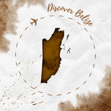 Belize watercolor map in sepia colors. Stock Images