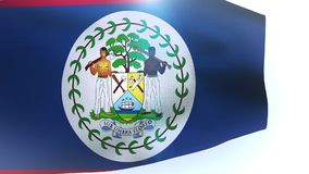 Belize waving flag in the wind wave stock footage