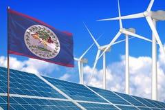Belize zonne en windenergie, duurzame energieconcept met zonnepanelen - duurzame energie tegen het globale industrieel verwarmen  stock illustratie