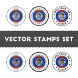 Belizean flag rubber stamps set. National flags grunge stamps. Country round badges collection Royalty Free Stock Photos