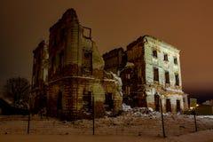 Belkino Ryssland - December 2015: Det dystert fördärvar av det historiska godset Belkino arkivbild