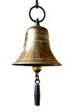Bell. Railway Station Old Brass Bell Isolate on White Background Stock Photo