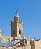 Bell along. With ruins of a church, we see a staircase that runs, is in the town of Medina Sidonia in Spain Stock Photo