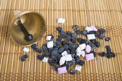 Bell and  aromatherapy with  frankincense. Royalty Free Stock Photography