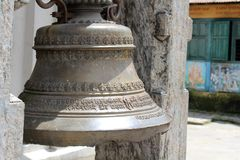 The bell around temple complex across Pashupatinath Temple in Kathmandu royalty free stock photography