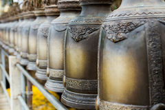 Bell of art. Bell is row of art in Thailand temple Stock Images