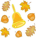 A bell and autumn leaves, vector illustration. Yellow bell and autumn leaves around it. Vector Illustration Stock Photos